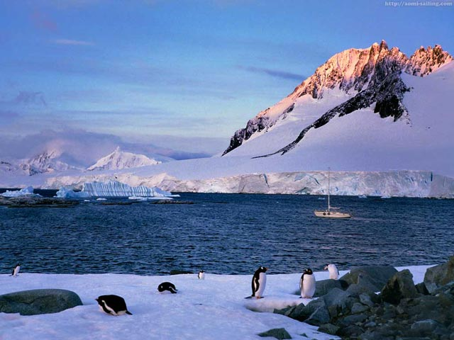 A Sunset in Dorian bay, Antarctic