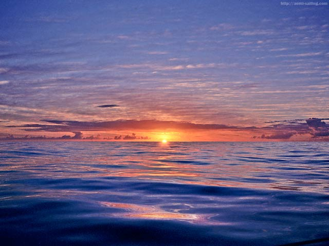 A sunset in the Pacific Ocean around the equator